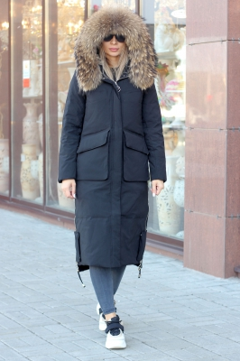 Стильный женский пуховик vo-tarun зима 2019-2020 с натуральным мехом