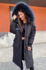 Длинное женское пальто с рукавом летучая мышь