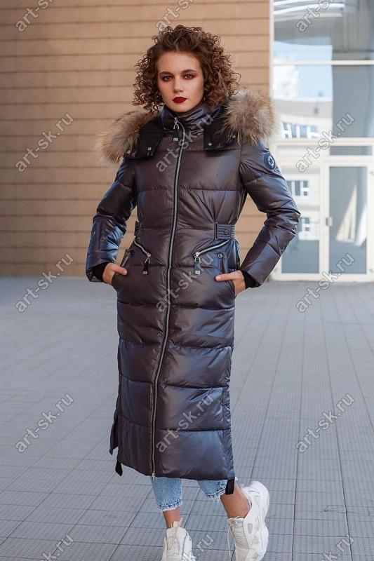 Длинный женский пуховик bellissimo с натуральным мехом