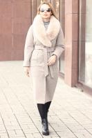 Шерстяное пальто в пол с поясом бежевого цвета