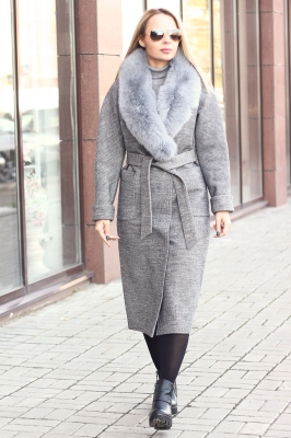 Пальто длинное шерстяное утепленное ватином