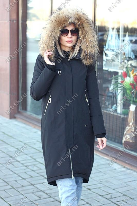 Женская зимняя куртка пуховик с нашивками