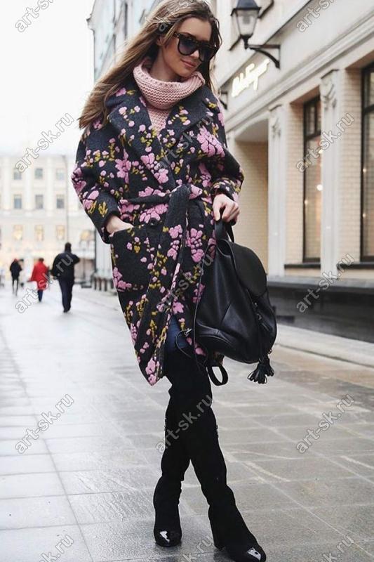 Шерстяное осеннее пальто с цветочным орнаментом