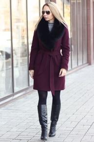 Теплое пальто зима 2018 с поясом бордовое
