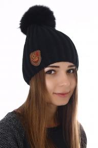 Вязаная шапка женская Ugg черная с мехом