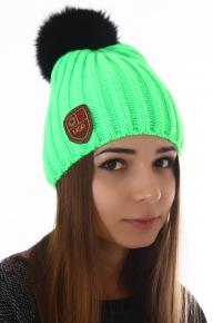 Вязаная шапка женская Ugg с мехом песца