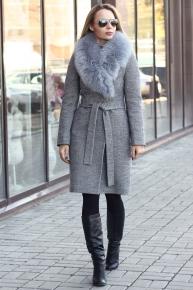 Пальто зимнее женское 2017-2018 с меховым воротником