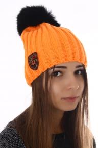 Вязаная шапка Ugg с мехом песца оранжевая