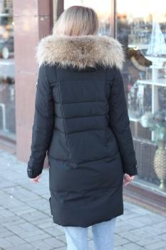 Куртка-пуховик с мехом внутри на биопухе цвета графит