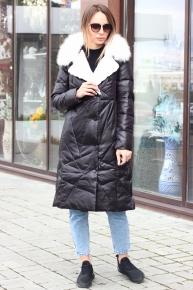 Розовая длинная куртка зима 2019-2020