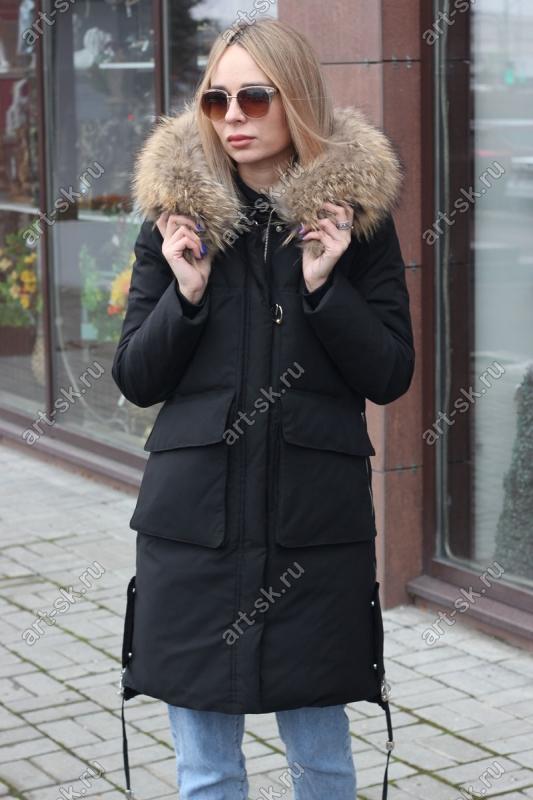 Длинный пуховик женский Армани с капюшоном