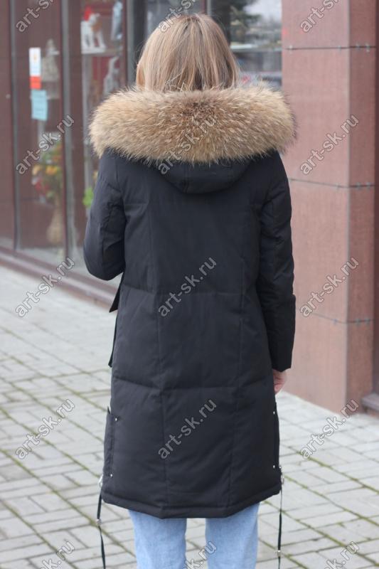 Длинное пуховое пальто Армани с поясом и капюшоном
