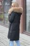 Длинный пуховик Армани с капюшоном и поясом