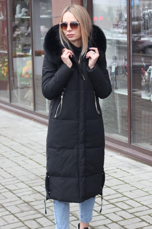 Черный пуховик vo-tarun с натуральным мехом
