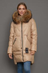 Желтое зимнее пальто 2021-2022 с меховым капюшоном