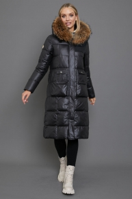 Брендовый зимний пуховик Vo-tarun в пол черного цвета
