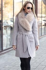 Кашемировое пальто женское с мехом бежевое