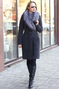 Женское зимнее пальто с чернобуркой драповое серое